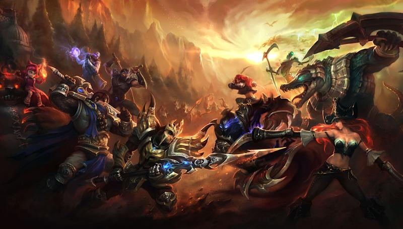 """This image provided by Riot Games shows publicity artwork for the videogame """"League of Legends.""""  The dizzying world championships of the online battle arena game """"League of Legends"""" concluded Saturday, Oct. 13, 2012, inside the University of Southern California's Galen Center, which typically hosts basketball _ not video _ games, with underdog Taiwan's Taipei Assassins defeating South Korea's Azubu Frost to win the tournament's $1 million grand prize. (AP Photo/Riot Games)"""