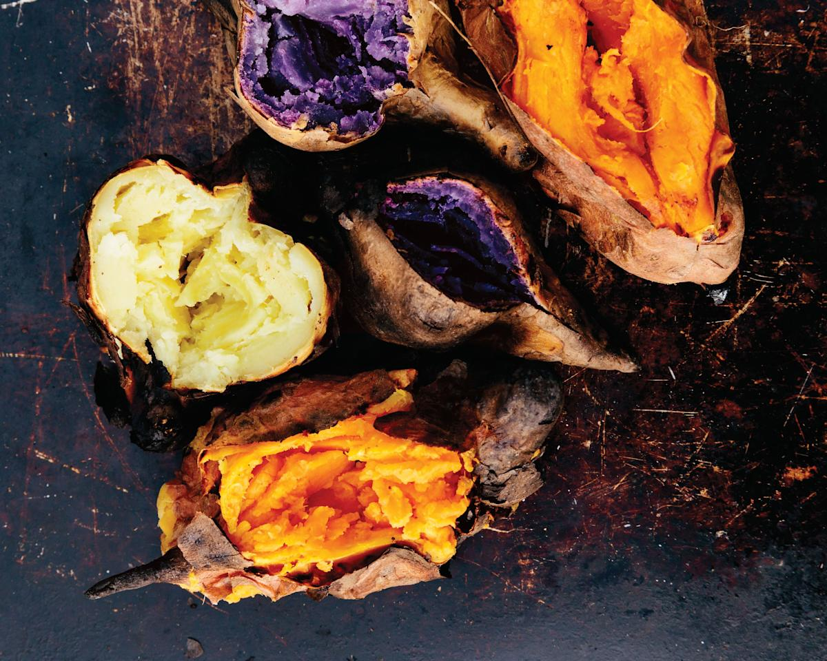 Brown-butter-and-honey-glazed sweet potatoes paired with an insanely garlicky puree make a perfect sweet-hot-spicy bite.