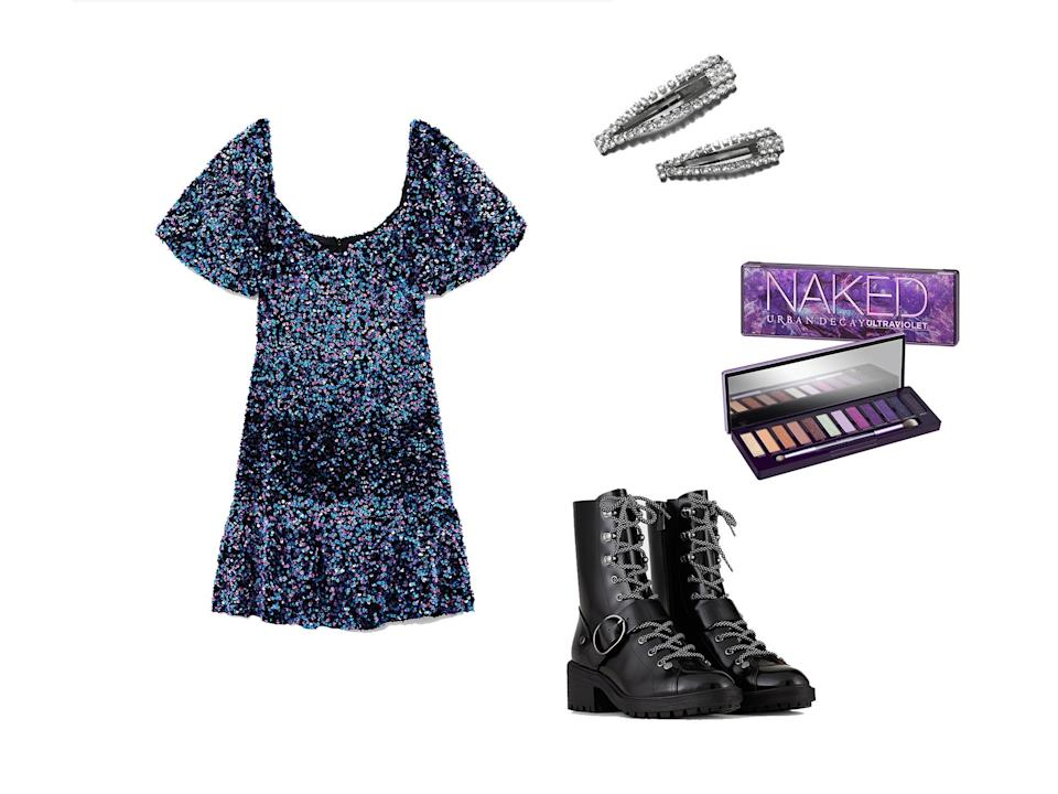 <p>Sequin Mini Dress, £49.99, Zara; Brushed Leather Combat Boots, £270, Emporio Armani; Leyla Rhinestone Hair Clip Set, £12, Weekday; Urban Decay, Naked Ultra Violet Palette, £43, Cult Beauty</p>The Independent