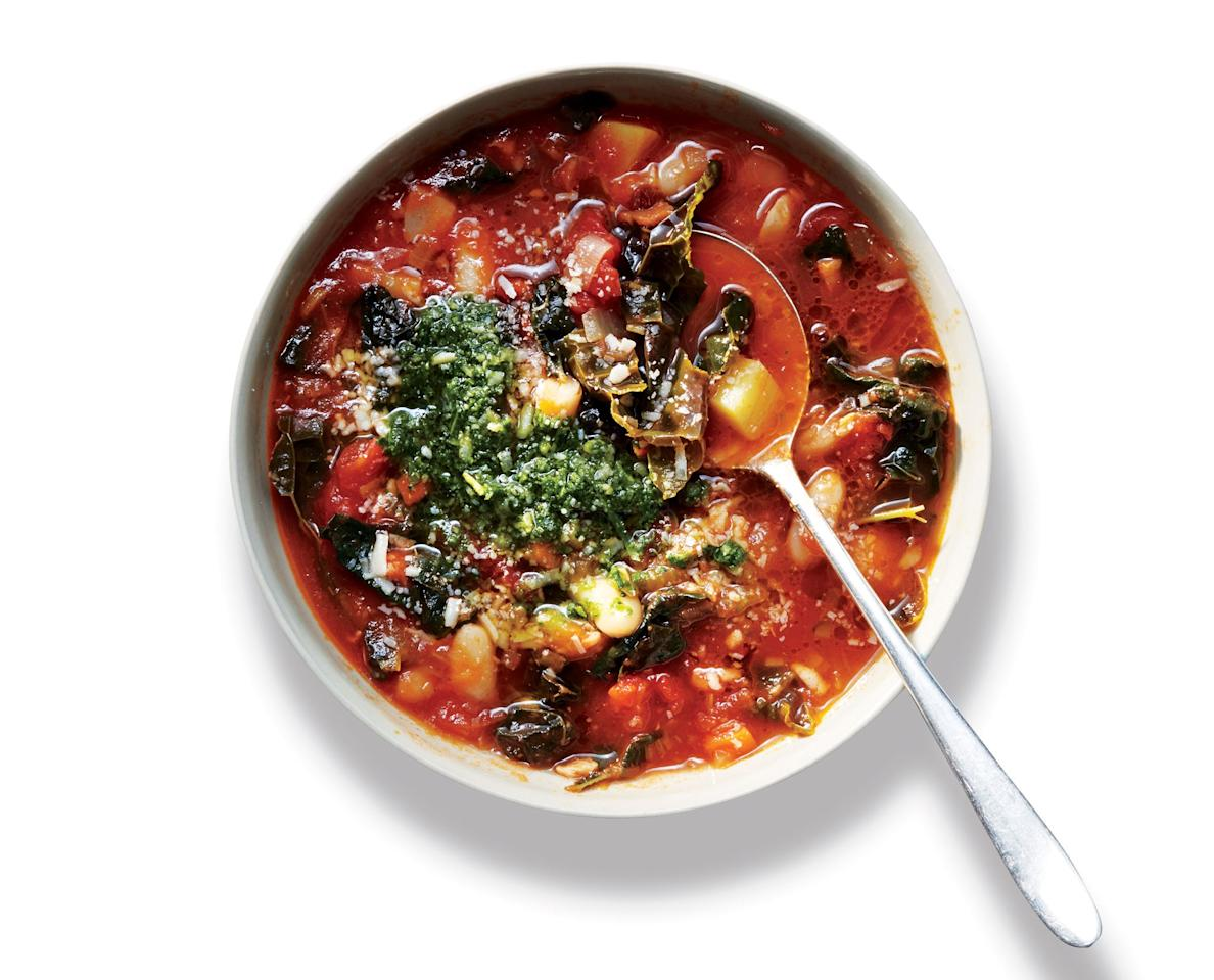 "For rave-worthy soups, skip the store-bought stock. You can extract a cleaner, stronger broth from a combination of water and several pantry ingredients. It's all about layering powerful flavor-enhancers that you probably already have on hand—bacon, tomato paste, herbs, peppercorns, a Parm rind, and, of course, kosher salt. <a href=""https://www.bonappetit.com/recipe/kale-minestrone-pistou?mbid=synd_yahoo_rss"">See recipe.</a>"