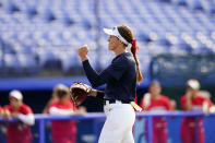 United States' Monica Abbott reacts after getting the win over Mexico during a softball game at the 2020 Summer Olympics, Saturday, July 24, 2021, in Yokohama, Japan. (AP Photo/Matt Slocum)