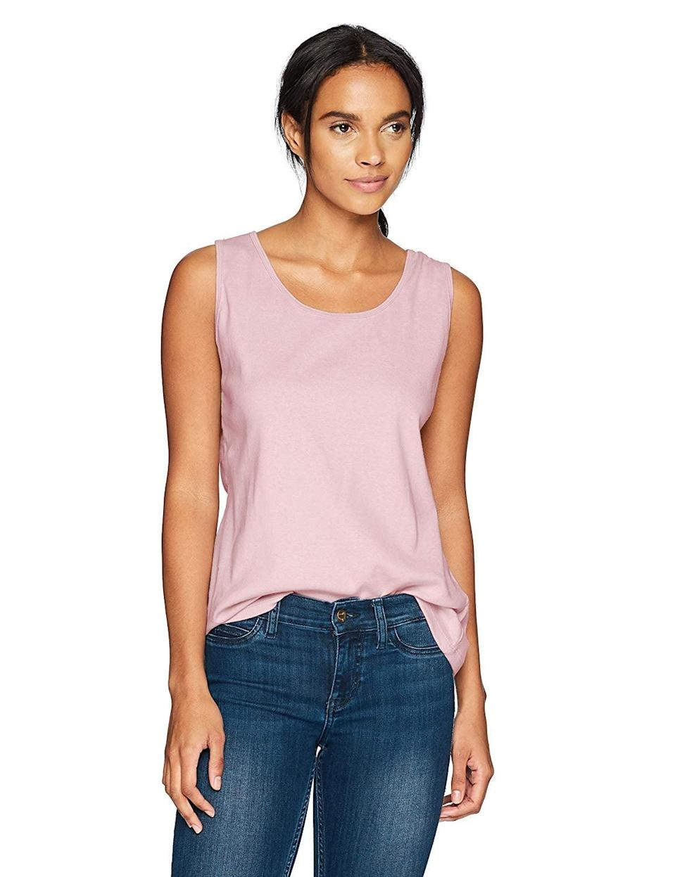 <p>You can mix and match this <span>Hanes Women's Mini-Ribbed Cotton Tank</span> ($8) so many ways.</p>