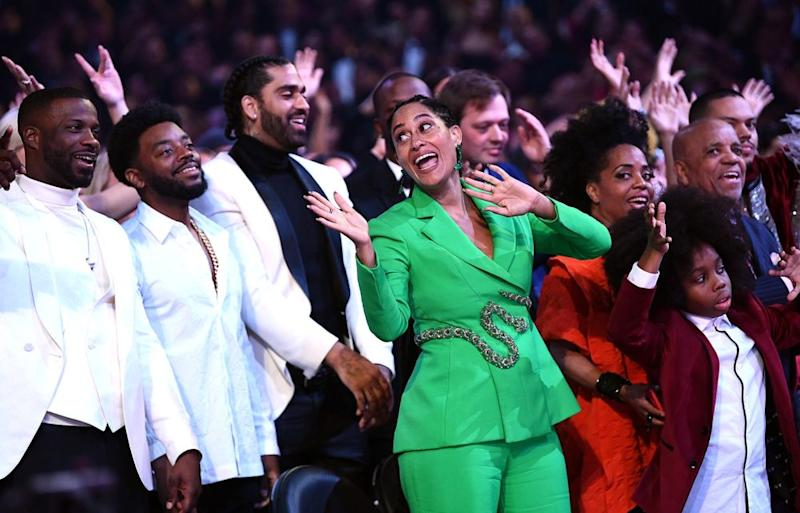 Tracee Ellis Ross watches mom Diana Ross' Grammy's performance