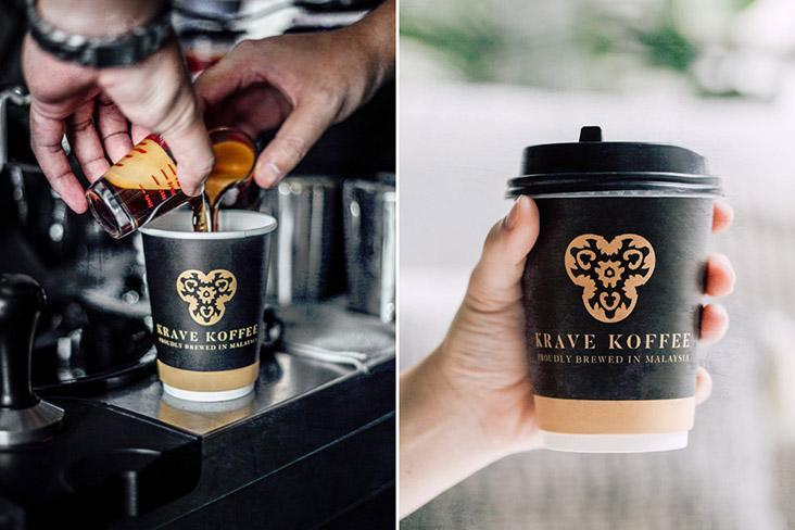 Krave Koffee's freshly-made coffees come in double-sized takeaway cups.