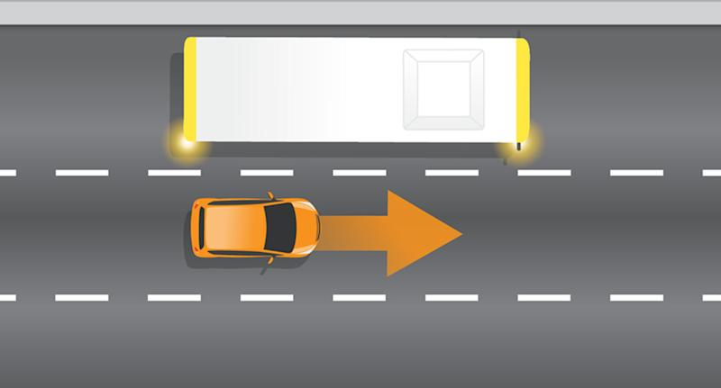 A graphic shows a bus indicating while a car drives next to it.