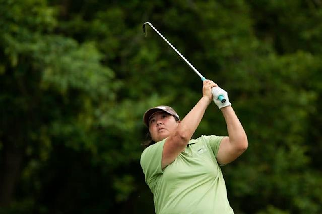 Pat Hurst of the U.S. tees off during round three of the LPGA Golf Championship in Pittsford, New York