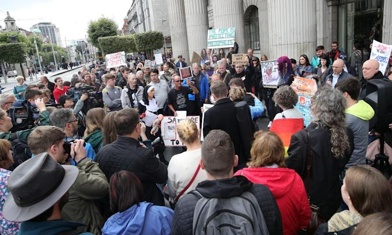 Protesters against clerical sex abuse assemble at the General Post Office on O'Connell Street in Dublin during the pope's visit in August.