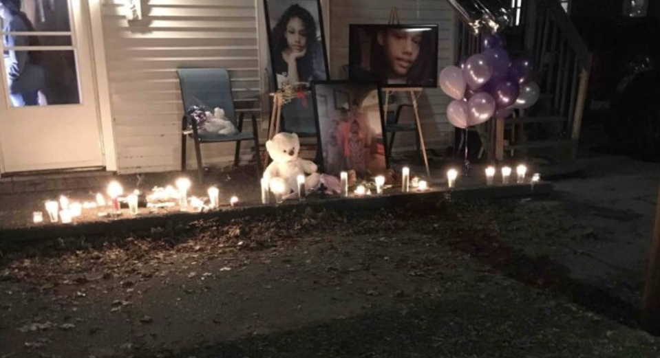 A vigil held by the family pictured in a photo posted on the Honestie Hodges GoFundMe page.