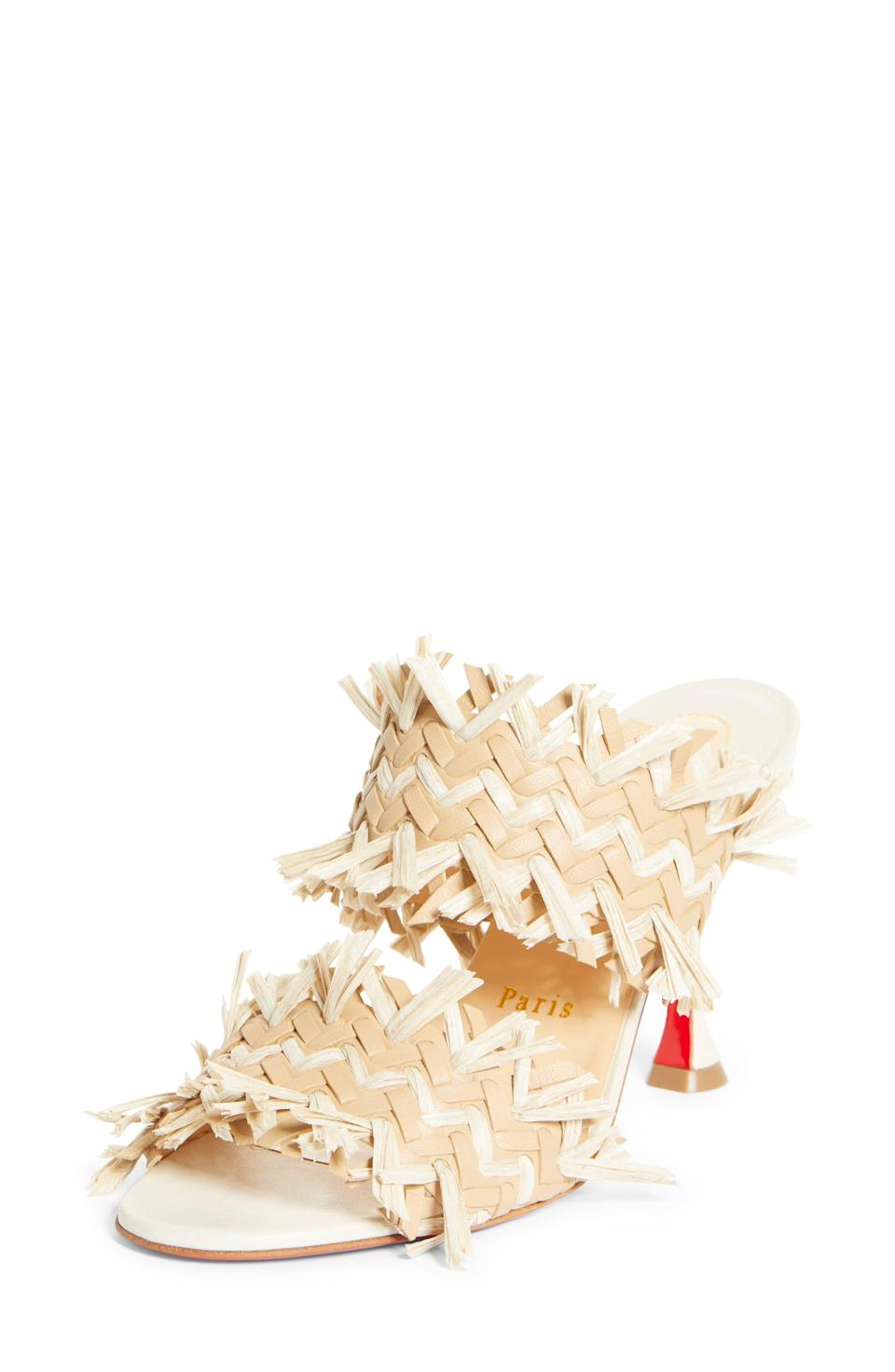 """<p><strong>Christian Louboutin </strong></p><p>nordstrom.com</p><p><strong>$795.00</strong></p><p><a href=""""https://go.redirectingat.com?id=74968X1596630&url=https%3A%2F%2Fwww.nordstrom.com%2Fs%2Fchristian-louboutin-meroine-double-band-sandal-women%2F5832489&sref=https%3A%2F%2Fwww.townandcountrymag.com%2Fstyle%2Ffashion-trends%2Fg36384322%2Fbest-sandals-for-women%2F"""" rel=""""nofollow noopener"""" target=""""_blank"""" data-ylk=""""slk:Shop Now"""" class=""""link rapid-noclick-resp"""">Shop Now</a></p><p>Woven raffia adds a playful, summery touch to these heeled sandals. </p>"""