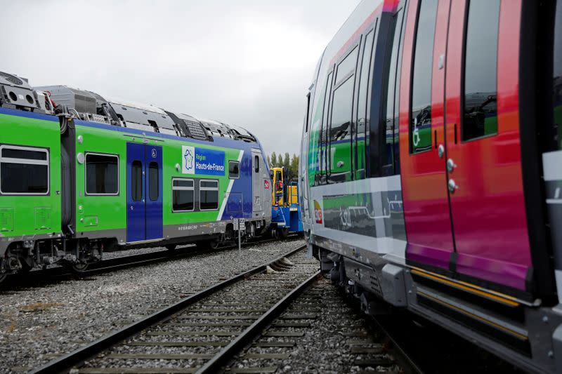 FILE PHOTO: The 100th Bombardier Regio 2N electric double-deck train, the tenth for the Hauts-de-France region, is pictured at the Bombardier plant in Crespin