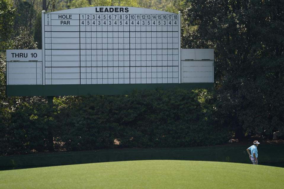 Ian Poulter, of England, waits to putt on the 11th hole during a practice round for the Masters golf tournament on Wednesday, April 7, 2021, in Augusta, Ga. (AP Photo/David J. Phillip)