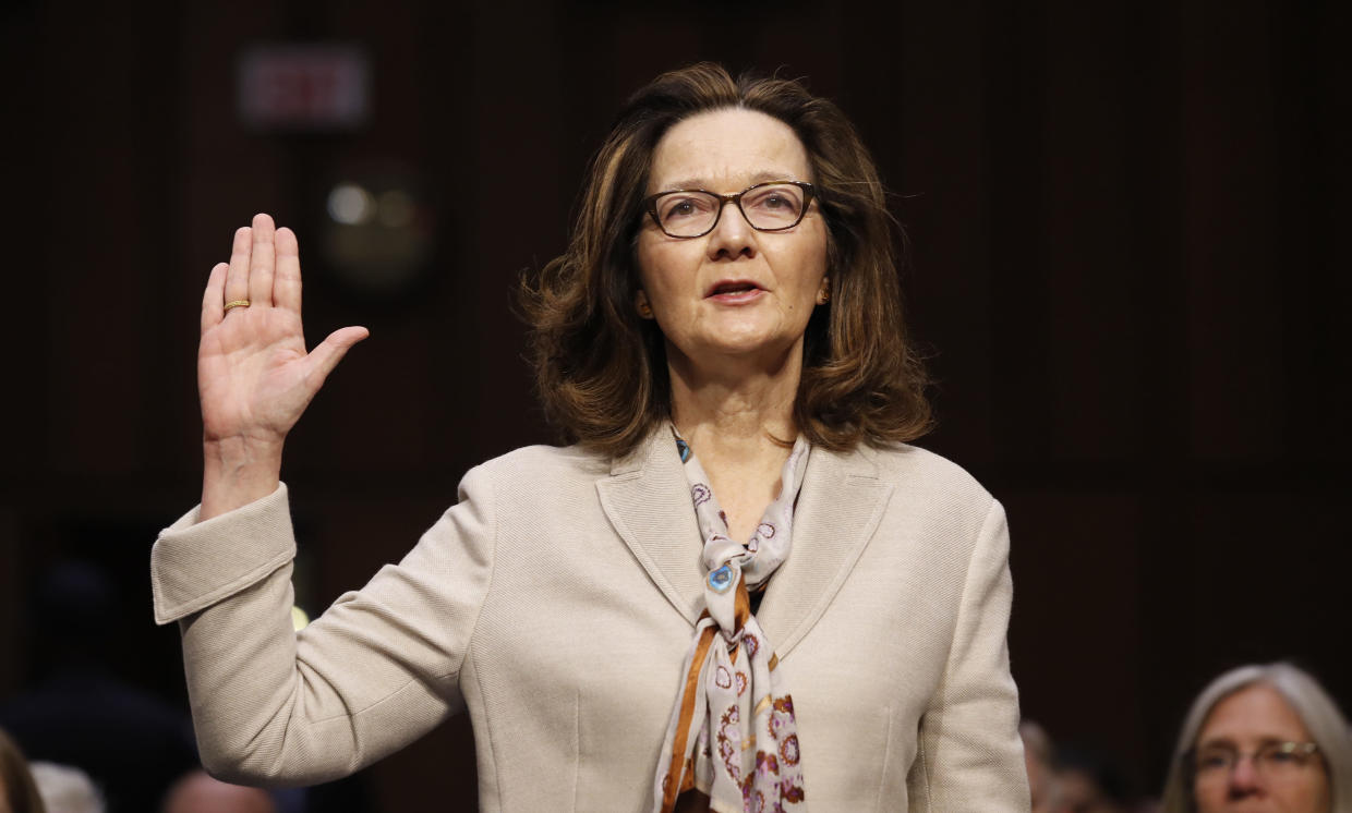CIA nominee Gina Haspel is sworn in during her Senate confirmation hearing on Capitol Hill. (Photo: Alex Brandon/AP)