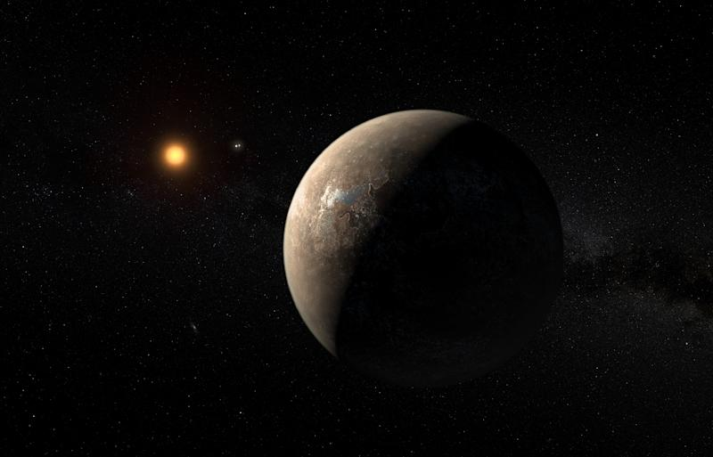 An artist's impression of the planet Proxima b, orbiting the red dwarf star Proxima Centauri