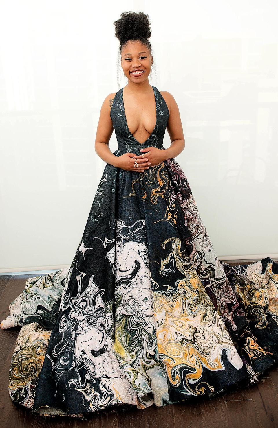 <p>has a ballgown moment in Georges Hobeika. </p>