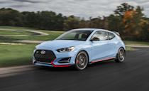 """<p>Another Hyundai for the stick-shift faithful is the brand's unique Veloster hatchback, which features three side doors. It gets a standard six-speed manual with the base 2.0-liter four or the turbocharged 1.6-liter four, which packs 201 horsepower. Hyundai also offers its 275-hp <a href=""""https://www.caranddriver.com/hyundai/veloster-n"""" rel=""""nofollow noopener"""" target=""""_blank"""" data-ylk=""""slk:Veloster N"""" class=""""link rapid-noclick-resp""""><strong>Veloster N</strong></a> hot hatch with three pedals, although we expect most buyers to go for its impressive new wet eight-speed dual-clutch.</p>"""