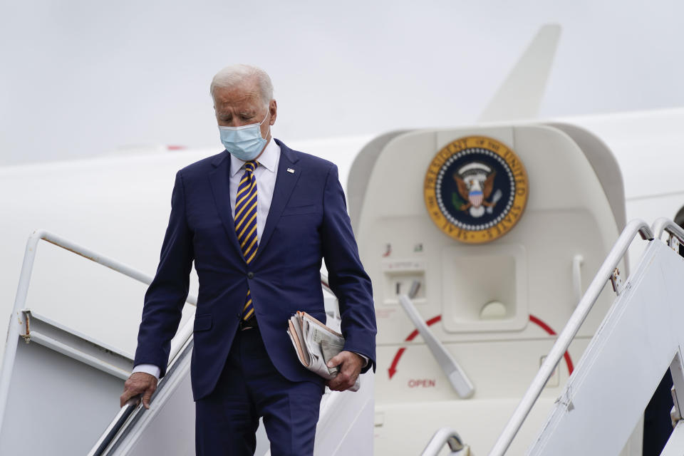 President Joe Biden steps off Air Force One, Friday, Sept. 17, 2021, at Dover Air Force Base, Del. Biden is spending the weekend at his home in Rehoboth Beach, Del. (AP Photo/Patrick Semansky)