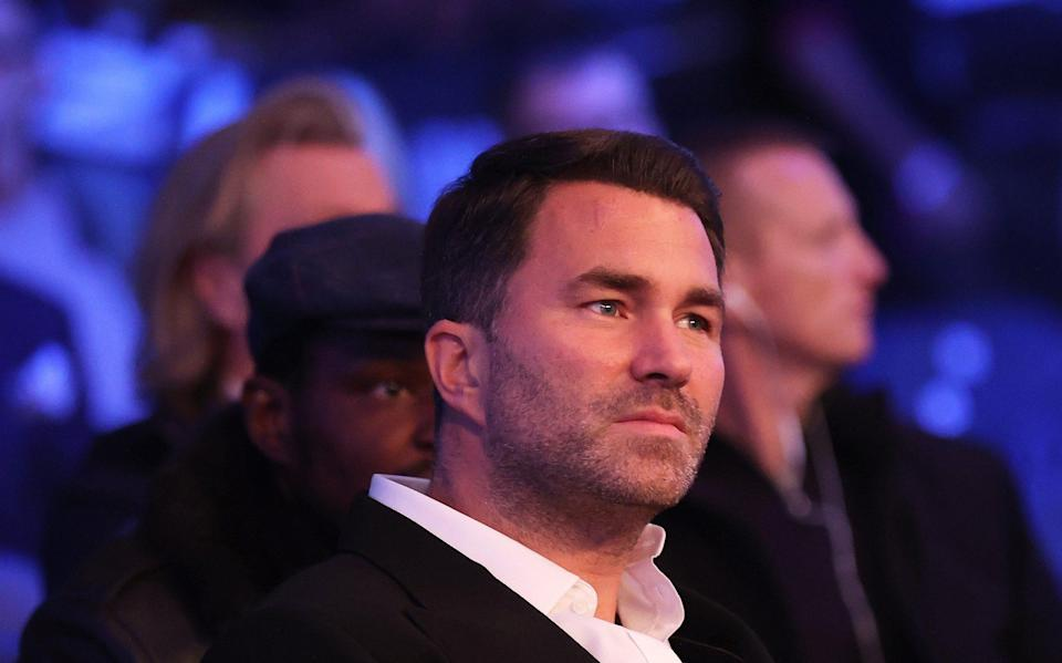 Promoter Eddie Hearn looks on ahead of the Heavyweight Title Fight between Anthony Joshua and Oleksandr Usyk at Tottenham Hotspur Stadium on September 25, 2021 in London, England. - GETTY IMAGES