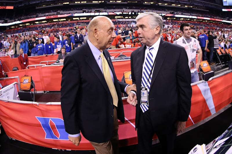 ESPN broadcaster Dick Vitale talks with Duke athletic director Kevin White before the NCAA title game on April 6, 2015 in Indianapolis, Indiana. (Mike Lawrie/Getty)
