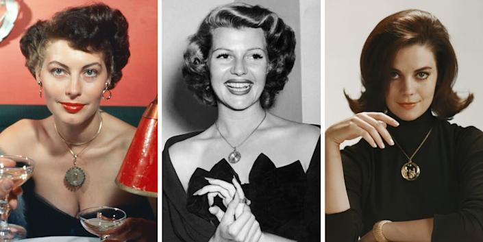 Pendant necklaces, as seen here on Ava Gardner, Rita Hayworth and Natalie Wood, weren't quite as prevalent as pearls, but they're just as classic. A pendant can be plain, textured or even engraved with something extra special for your giftee.