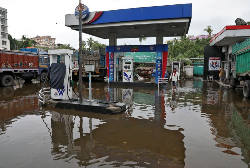 A water-logged fuel station is pictured after Cyclone Amphan made its landfall, in Kolkata