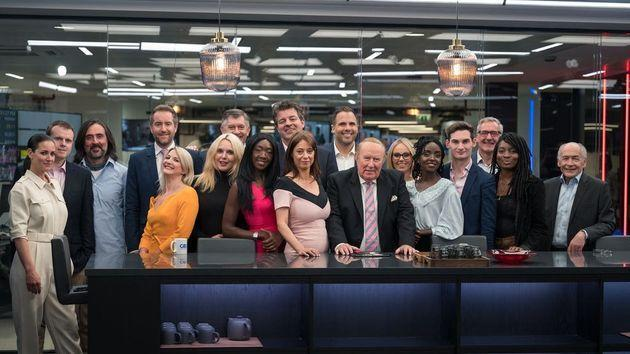 Andrew Neil posing with the on-air GB News team after its launch night (Photo: PA)