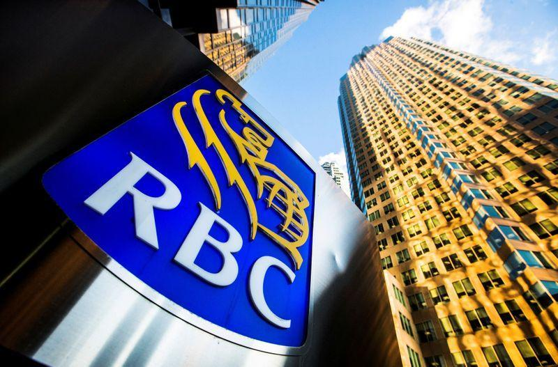 FILE PHOTO: A Royal Bank of Canada logo is seen on Bay Street in the heart of the financial district in Toronto