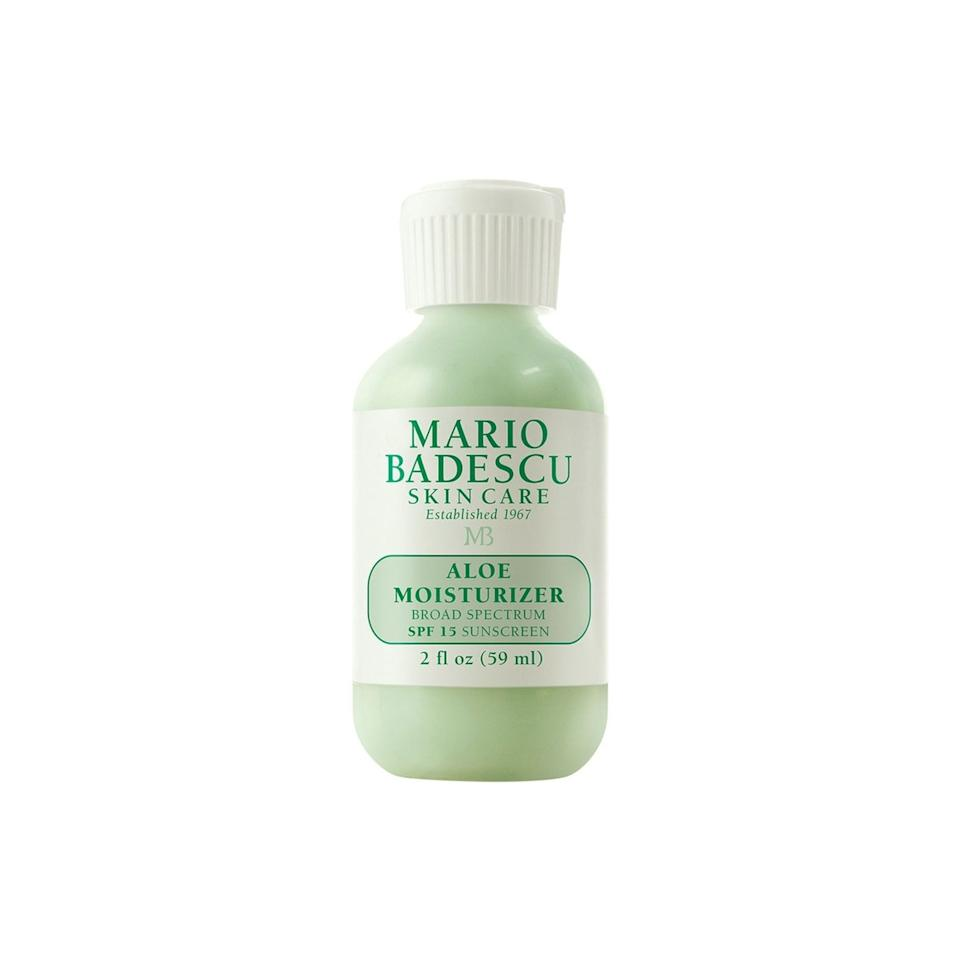 """<p>Simple is best for problem skin, so opt for a gentle, oil-free moisturizer like Mario Badescu's Aloe. It even has the added bonus of SPF 15 to protect you from UVA/UVB rays during your summer commute.</p> <p>$24 (<a rel=""""nofollow"""" href=""""http://www.ulta.com/aloe-moisturizer-spf-15?productId=xlsImpprod6200701"""" rel=""""nofollow"""">ulta.com</a>)</p>"""