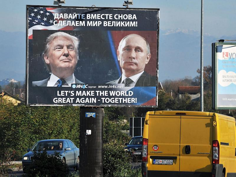 A poster in Dubrovnik, Montenegro, toasts an new era led by Trump and Putin: Reuters