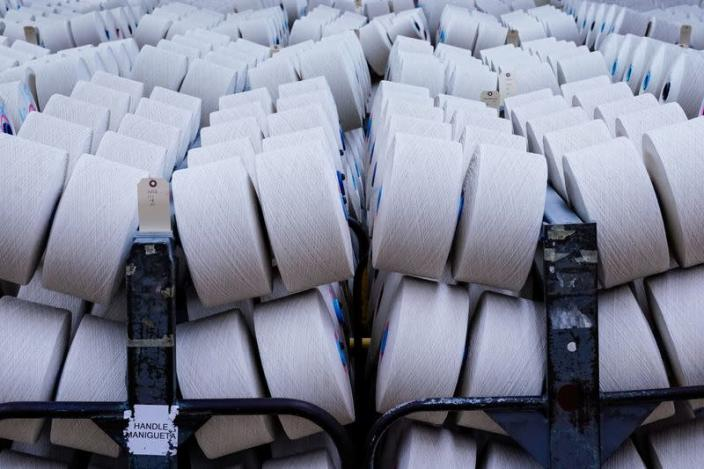 Rolls of cotton yarn are seen at Mountain View Mills in Trion