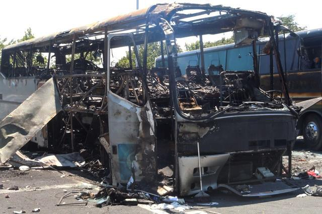 This image provided by the Bulgarian Interior Ministry Thursday July 19, 2012, shows a damaged bus following Wednesday's deadly suicide attack on a bus full of Israeli vacationers at the Burgas airport parking lot, Burgas, Bulgaria. The attack occurred shortly after the Israelis boarded a bus outside the airport in the Black Sea resort town of Burgas, a popular destination for Israeli tourists — particularly for high school graduates before they are drafted into military service. Burgas is about 400 kilometers (250 miles) east of the capital, Sofia. (AP Photo/Bulgarian Interior Ministry)