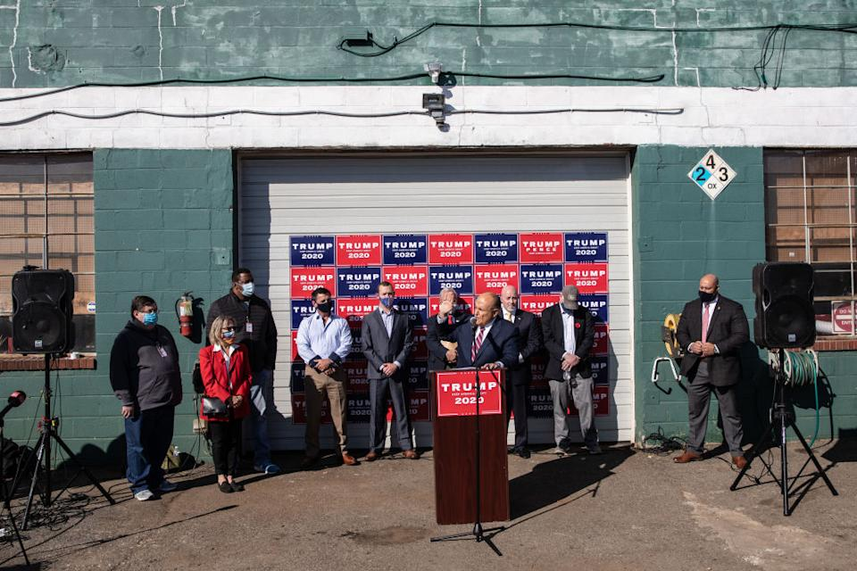 Attorney for the President, Rudy Giuliani speaks to the media at a press conference held in the back parking lot of Four Seasons Total Landscaping in Philadelphia, Pennsylvania.