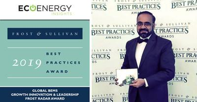 EcoEnergy Insights, a leading provider of analytics-driven energy management and business outcome services, has been awarded this year's Frost Radar® best practices award for Growth, Innovation and Leadership in the global building energy management system (BEMS) segment. Mansoor Ahmad, managing director of EcoEnergy Insights, accepted the award.