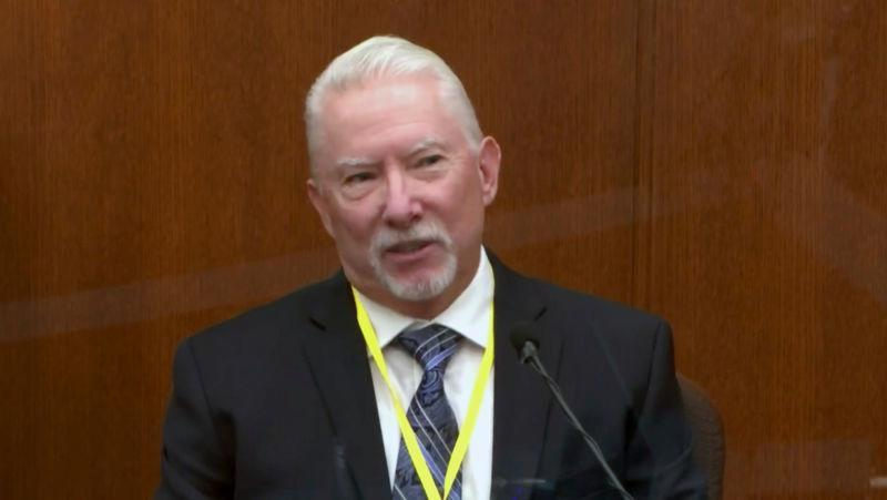 Barry Brodd, a use of force expert testifies as Hennepin County Judge Peter Cahill presides, Tuesday, April 13, 2021