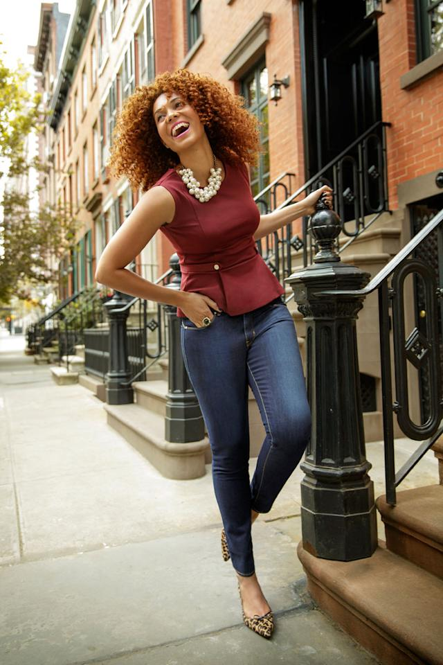 """<div class=""""caption-credit""""> Photo by: Ari Michelson</div><div class=""""caption-title"""">Get happy with your curves</div>Strategically placed stretch minimizes thighs and boosts your rear-so you still look juicy, but beautifully in proportion. <br> <br> Bold Curve Jeans by Levi's Revel, $98. Necklace, Zara, $29.90. Top, Ann Taylor, $59. Ring, Glitterrings, $36. Heels, Talbots, $149. <br> <b><br></b> <ul>  <li>  <b><a rel=""""nofollow"""" target="""""""" href=""""http://www.redbookmag.com/beauty-fashion/tips-advice/fall-2013-trends?link=rel&dom=yah_life&src=syn&con=blog_redbook&mag=rbk"""">39 Looks That Make Us Excited for Fall</a></b>  </li>  <li>  <a rel=""""nofollow"""" target="""""""" href=""""http://www.redbookmag.com/beauty-fashion/tips-advice/fall-cardigans?link=rel&dom=yah_life&src=syn&con=blog_redbook&mag=rbk""""><b>These Cardigans Will Be the Most Useful Items In Your Closet</b>  <br></a>  </li> </ul>"""
