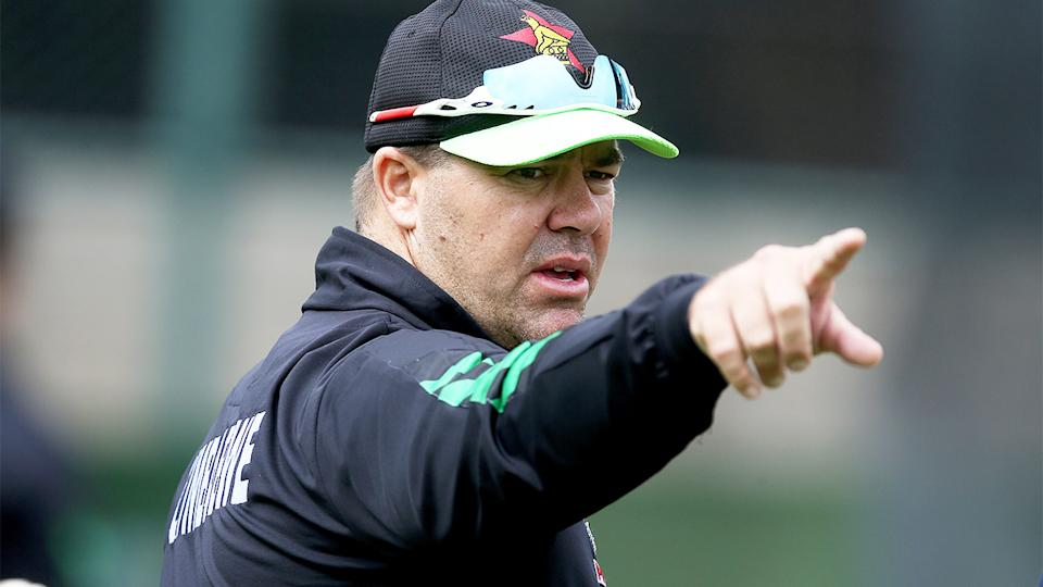 Heath Streak (pictured) pointing during a coaching stint at Zimbabwe cricket.