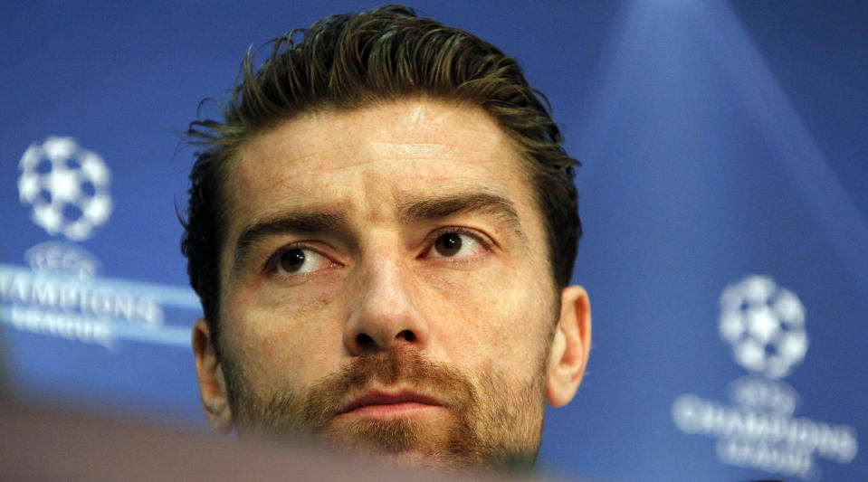 Napoli' s goalkeeper Morgan De Sanctis listens to reporters' questions during a press conference in Munich, southern Germany, Tuesday, Nov. 1, 2011. SSC Napoli will play a Champions League round of 16 second leg match against Bayern Munich Wednesday. (AP Photo/Matthias Schrader)
