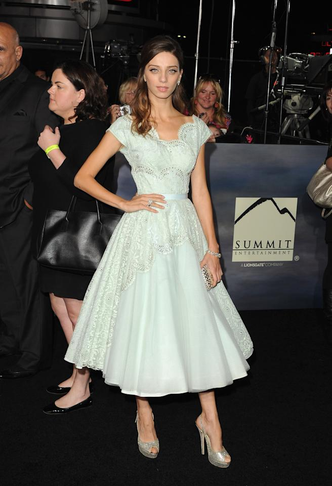 "Angela Sarafyan arrives at the premiere of Summit Entertainment's ""The Twilight Saga: Breaking Dawn - Part 2"" at Nokia Theatre L.A. Live on November 12, 2012 in Los Angeles, California.  (Photo by Jason Merritt/Getty Images)"