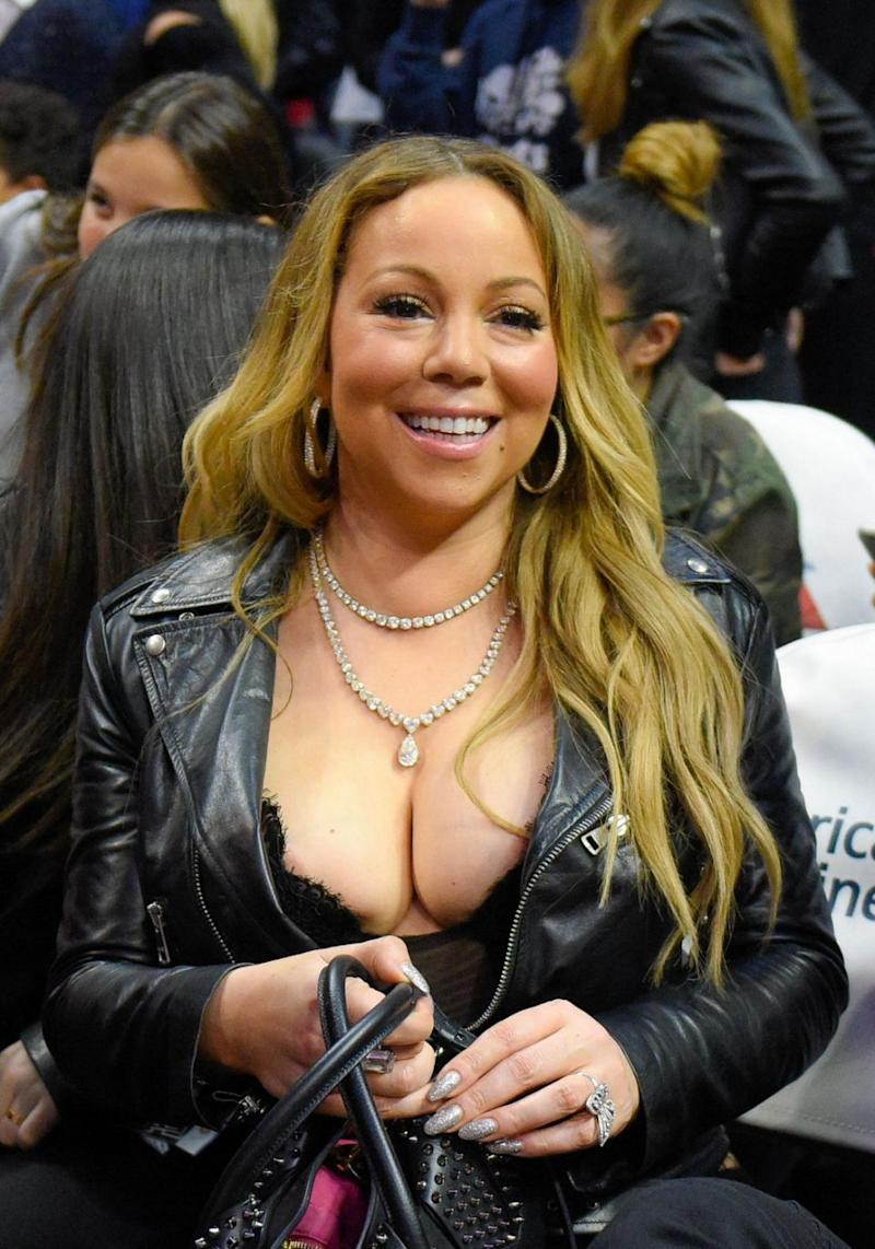 The 46-year-old American singer almost suffered an awkward wardrobe malfunction, getting very close to a nip slip thanks to an extremely plunging blouse she wore. Source: Getty