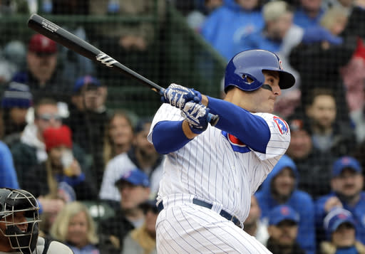 """<a class=""""link rapid-noclick-resp"""" href=""""/mlb/teams/chc"""" data-ylk=""""slk:Chicago Cubs"""">Chicago Cubs</a>' <a class=""""link rapid-noclick-resp"""" href=""""/mlb/players/8868/"""" data-ylk=""""slk:Anthony Rizzo"""">Anthony Rizzo</a> has been less-than-pleasing for fantasy baseball owners. (AP Photo/Nam Y. Huh)"""