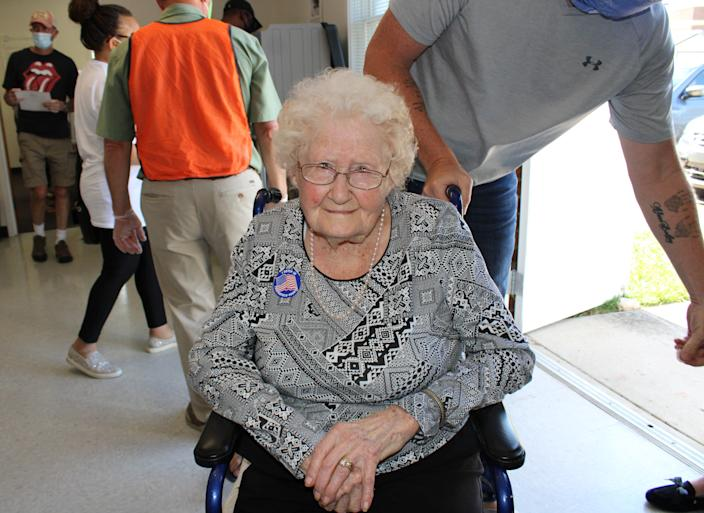 Centenarian Mabel Dorothy Duty Cook of Chesterfield wears her 'I voted' sticker proudly after casting her ballot at the Registrar's Office in Chesterfield on Oct. 15, 2020.