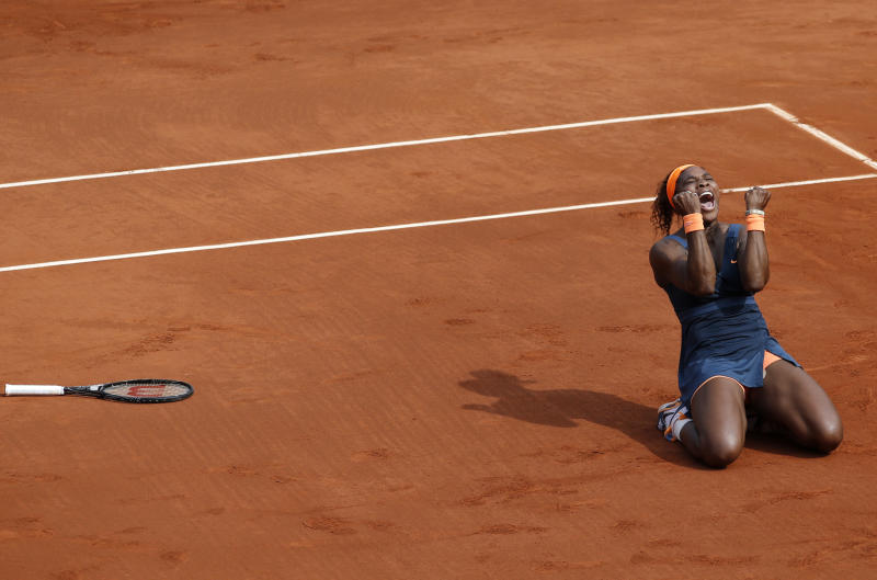 Serena Williams, of the U.S, reacts as she defeats Russia's Maria Sharapova during the Women's final match of the French Open tennis tournament at the Roland Garros stadium Saturday, June 8, 2013 in Paris. Williams won 6-4, 6-4. (AP Photo/Christophe Ena)
