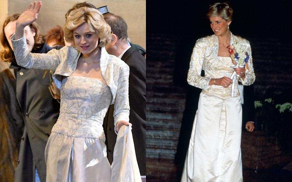 Emma Corrin filming new scenes for series four of The Crown and Princess Diana wearing Victor Edelstein in 1989