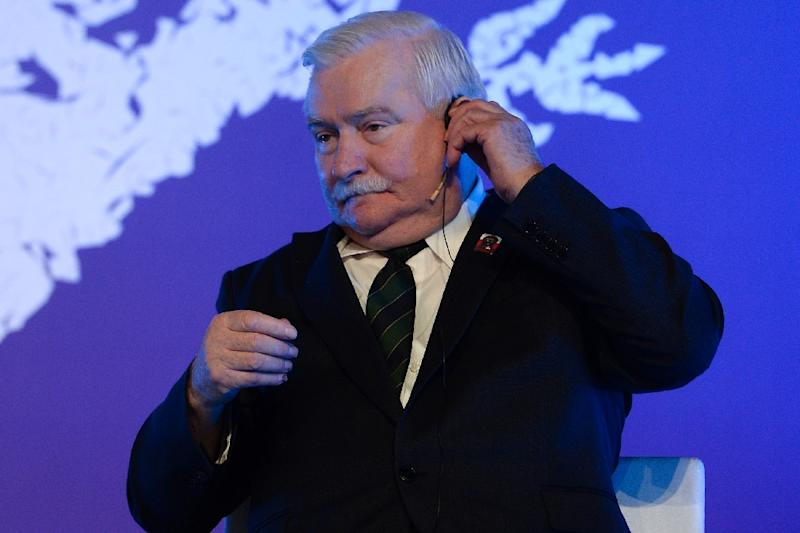 "Nobel peace laureate Lech Walesa, photographed November 14, 2015 in Barcelona, called for new elections in Poland on December 23, saying actions by Poland's new conservative government have left him ""ashamed to travel abroad"" (AFP Photo/Josep Lago)"