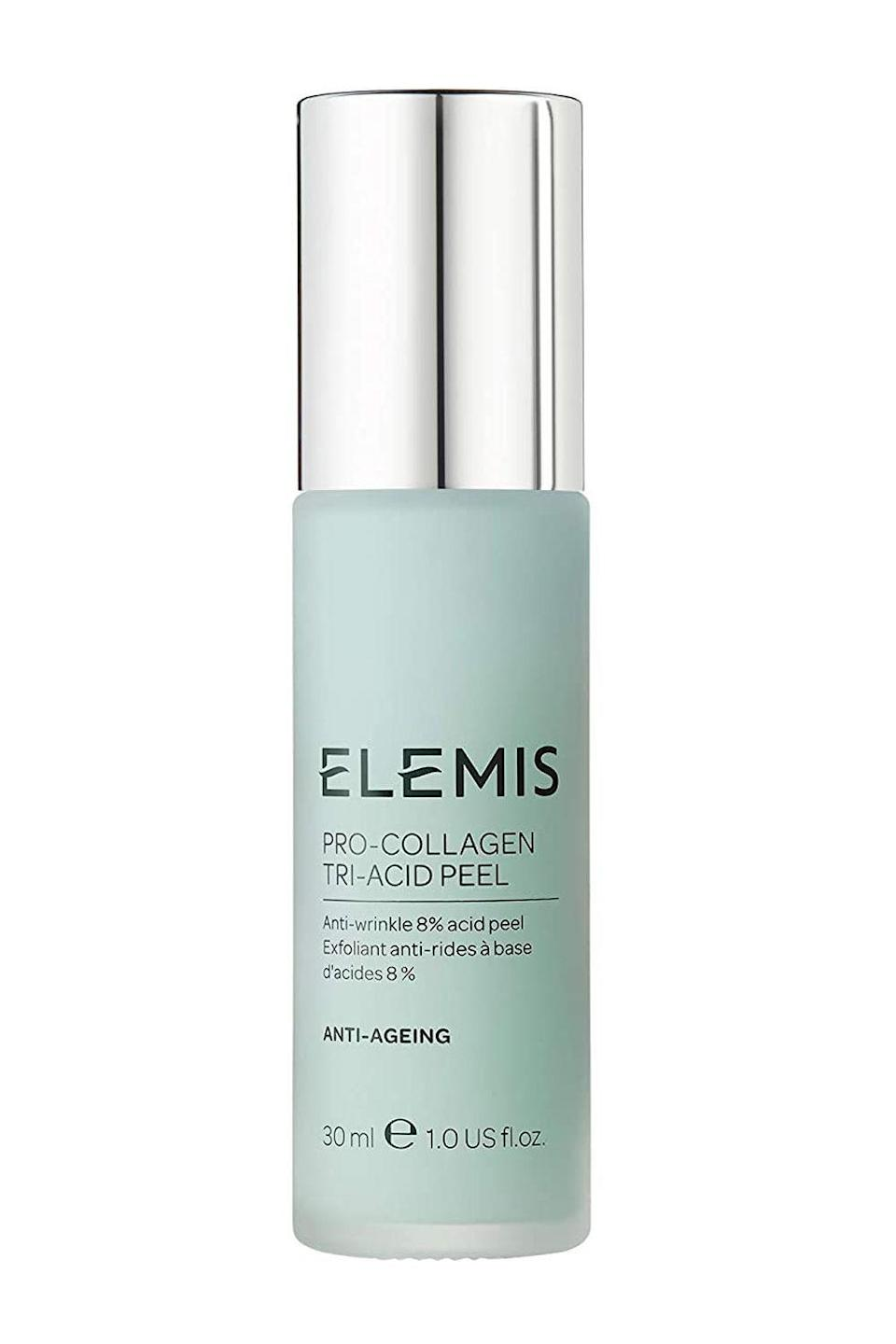 """<p><strong>ELEMIS</strong></p><p>ulta.com</p><p><strong>$110.00</strong></p><p><a href=""""https://go.redirectingat.com?id=74968X1596630&url=https%3A%2F%2Fwww.ulta.com%2Fpro-collagen-tri-acid-peel%3FproductId%3Dpimprod2022677&sref=https%3A%2F%2Fwww.cosmopolitan.com%2Fstyle-beauty%2Fbeauty%2Fg30554130%2Fbest-at-home-face-peel%2F"""" rel=""""nofollow noopener"""" target=""""_blank"""" data-ylk=""""slk:Shop Now"""" class=""""link rapid-noclick-resp"""">Shop Now</a></p><p>Fine lines who? This at home chemical is <strong>specifically designed to plump fine lines and <a href=""""https://www.cosmopolitan.com/style-beauty/beauty/g13812654/best-anti-wrinkle-cream/"""" rel=""""nofollow noopener"""" target=""""_blank"""" data-ylk=""""slk:smooth wrinkles"""" class=""""link rapid-noclick-resp"""">smooth wrinkles</a>,</strong> thanks to a blend of lactobionic, asiatic, and mandelic acids, plus plant-based ingredients to support a healthy moisture barrier.</p>"""