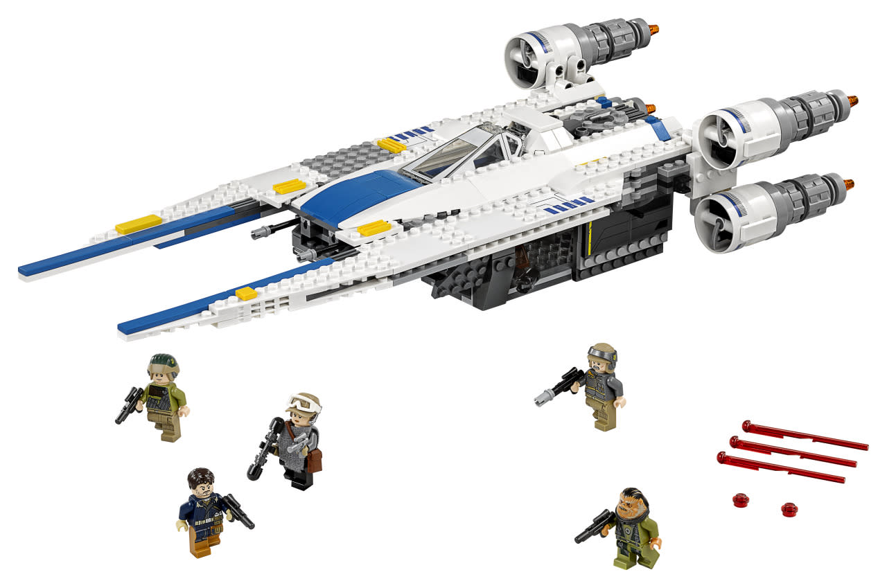 <p>The new Rebel fighter's U-shaped wings open and retract. The ship includes five minifigs, including Sergeant Jyn Erso, Captain Cassian Andor, a pilot, Rebel trooper, and the ship's hirsute gunner, Bistan. ($79.99)</p>
