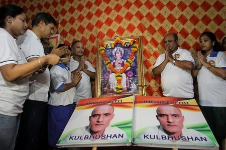 People pray before the issue of a verdict in the case of Indian national Kulbhushan Jadhav by International Court of Justice, in Mumbai