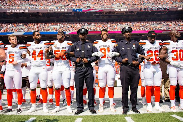 <p>Members of the Cleveland Police join the Cleveland Browns on the sidelines during the National Anthem prior to the game against the Pittsburgh Steelers at FirstEnergy Stadium on September 10, 2017 in Cleveland, Ohio. (Photo by Jason Miller/Getty Images) </p>