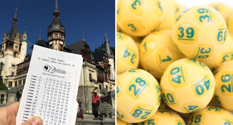 Lotto ticket and balls ahead of Oz Lotto's Tuesday $50 million draw.