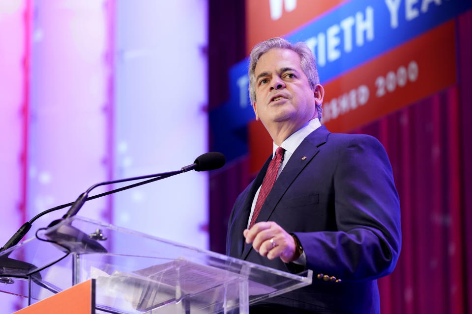 AUSTIN, TEXAS - OCTOBER 24: Austin's 52nd Mayor Steve Adler speaks on stage during Texas Conference For Women 2019 at Austin Convention Center on October 24, 2019 in Austin, Texas. (Photo by Marla Aufmuth/Getty Images for Texas Conference for Women 2019)