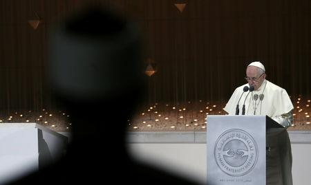 Pope Francis speaks during an inter-religious meeting at the Founder's Memorial in Abu Dhabi, United Arab Emirates, February 4, 2019. REUTERS/Tony Gentile